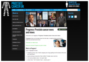 A Screen shot of the Prostate Cancer UK Progress Website